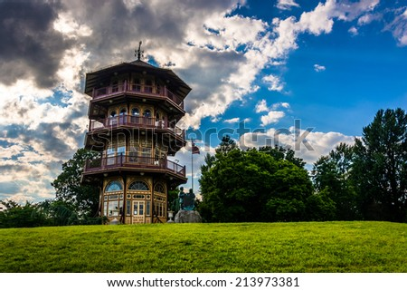 The pagoda at Patterson Park in Baltimore, Maryland. - stock photo