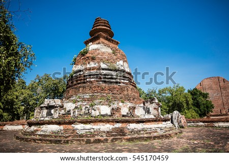 The pagoda at Wat Maheyong, Ayutthaya province. The ancient capital city of Thailand.