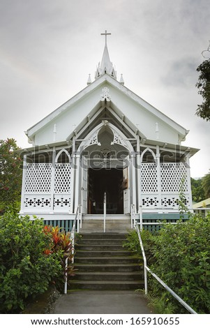 The Painted Church on the Big Island of Hawaii - stock photo