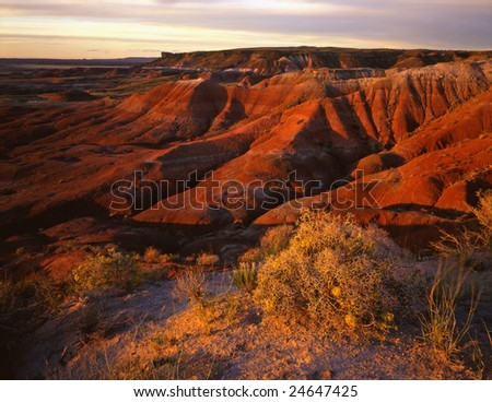 The Painted Desert photographed from Lacey Point located in Petrified Forest National Park, Arizona. - stock photo