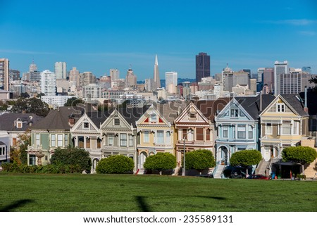 The Painted Ladies of San Francisco Alamo Square Victorian houses at California USA - stock photo