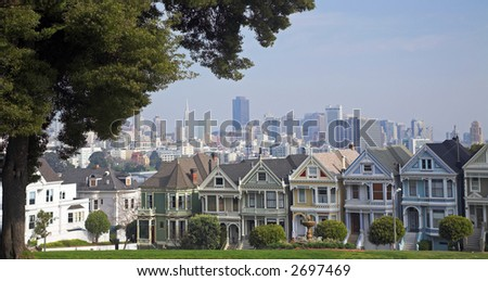 The Painted Ladies (San Francisco) - stock photo
