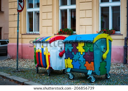 The painted litter bins in Tabor (South Bohemia, Czech Republic)
