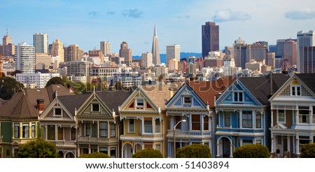 """The """"Painted Sisters"""" Houses at Alamo Square in San Francisco, California. - stock photo"""