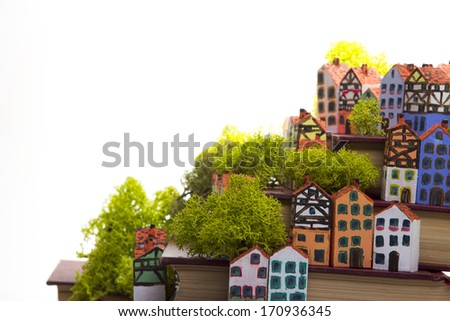 The painted wooden models of typical  buildings of European cities on a small scale with books on a white background. The concept of European culture traditions