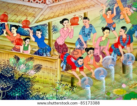 The Painting art of culture thai style. This is traditional and generic style in Thailand. No any trademark or restrict matter in this photo. - stock photo