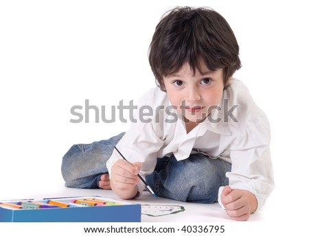 The painting boy on a white background - stock photo