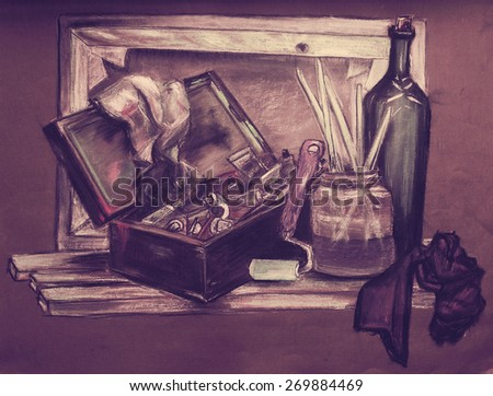 """The painting """"Still Life Artist"""", paper, dry pastels - stock photo"""