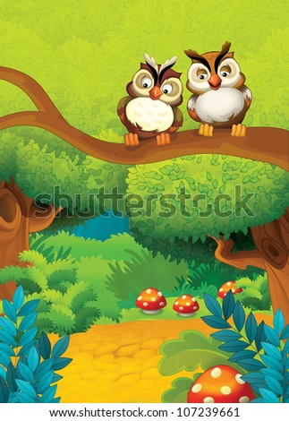 The pair of birds in love or friends at the branch - illustration for kids - stock photo