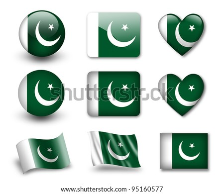 The Pakistani flag - set of icons and flags. glossy and matte on a white background. - stock photo