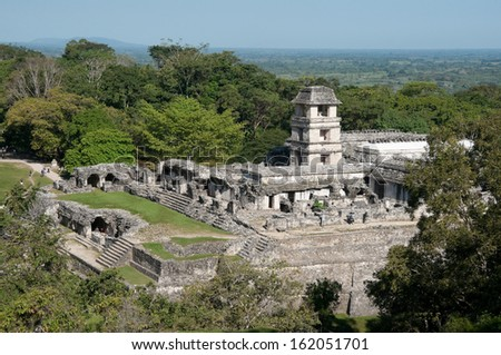 The palace,ancient Mayan city of Palenque (Mexico) - stock photo