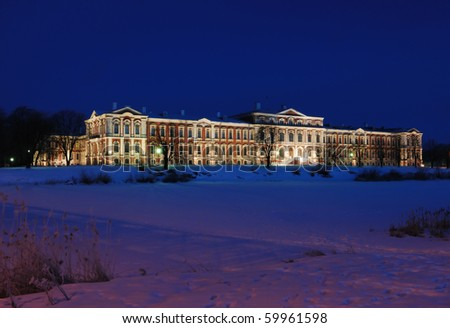 The palace built by famous architect Rastrelli for duke Biron favourite of empress of Russian - stock photo