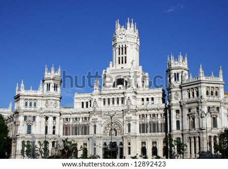 The palace in plaza cibeles, madrid - stock photo
