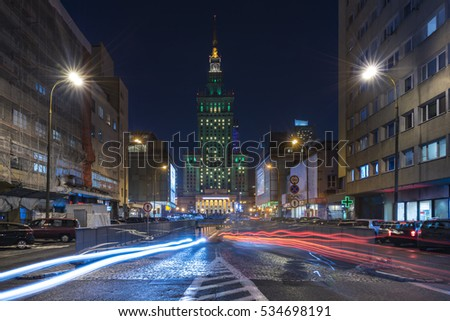 The Palace of Culture and Science in Warsaw at Night. Standing at 237 meters, this building, erected by Joseph Stalin, is the tallest in the country of Poland.