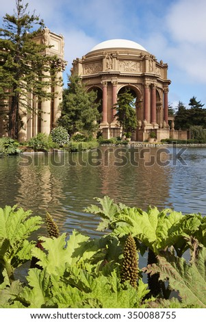 The Palace of Fine Arts in the city of San Francisco, U.S.A - stock photo