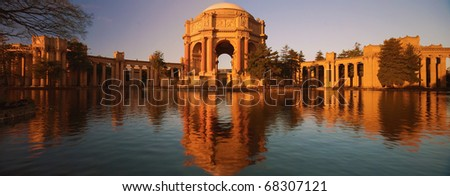 The Palace of Fine Arts is a monumental structure originally constructed for the 1915 Panama-Pacific Exposition in order to exhibit works of art presented there. - stock photo