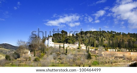 The palace of Generalife. Granada, Andalusia, Spain. - stock photo