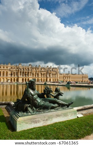 The Palace of Versailles as seen from the park, in summer 2010 - stock photo
