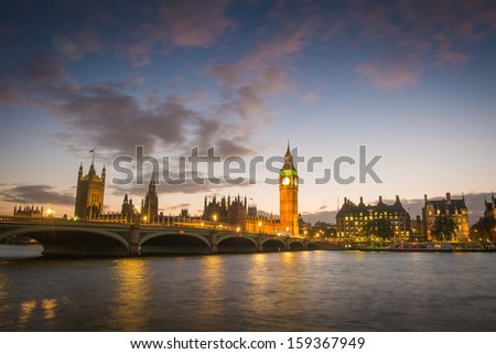 The Palace of Westminster Big Ben at night  - stock photo