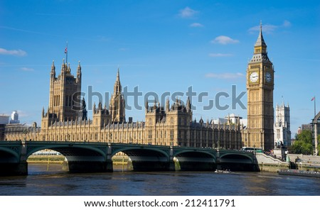 The Palace of Westminster Big Ben at sunny day, London, England, UK  - stock photo