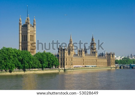 The Palace of Westminster more popularly known as the Houses of Parliament - stock photo