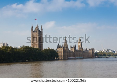 The Palace of Westminster (the Houses of Parliament) view from the River Thames, London, UK - stock photo