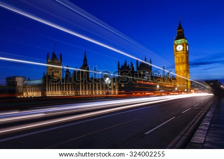 The Palace of Westminster with Elizabeth Tower at night, Big Ben UK - stock photo