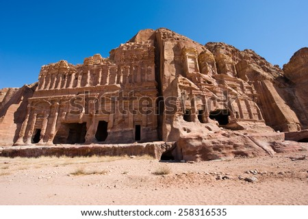 The Palace tomb (left) and the Corinthian tomb, two of the 'Royal Tombs' in Petra in Jordan  - stock photo