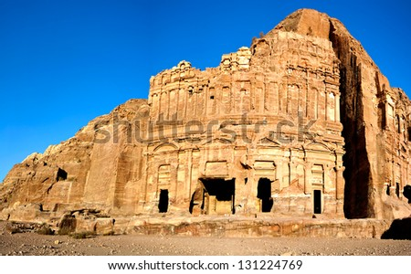 The Palace Tomb Petra Jordan - stock photo