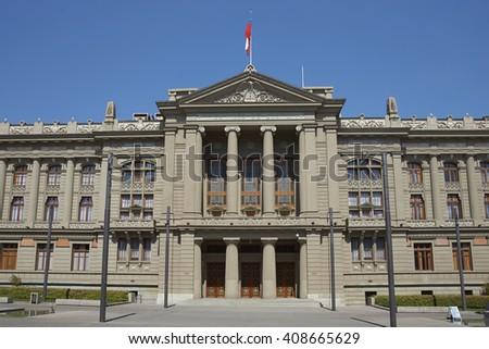The Palacio de los Tribunales de Justicia de Santiago. Historic building in Santiago, Chile housing the Supreme Court of Chile.  - stock photo