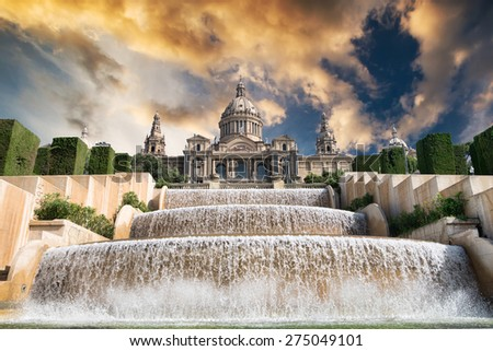 The Palau Nacional situated in Montjuic in sunset, Barcelona - stock photo