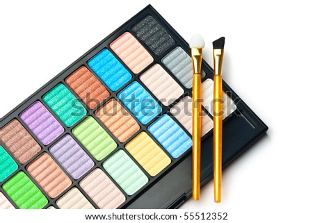 The palette for makeup with two brushes - stock photo