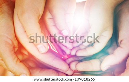 The palms of the family - stock photo