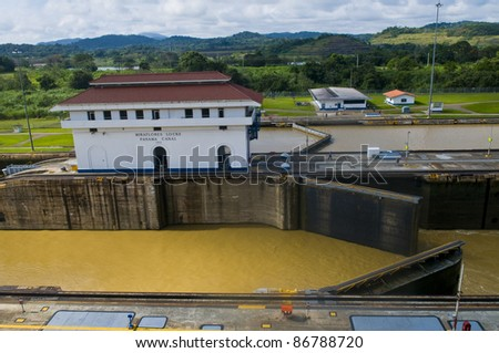 The Panama canal in Panama city - stock photo