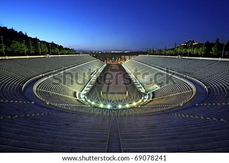 """The Panathenaic Stadium (""""Kalimarmaro"""") in the """"blue"""" hour. Athens, Greece. - stock photo"""
