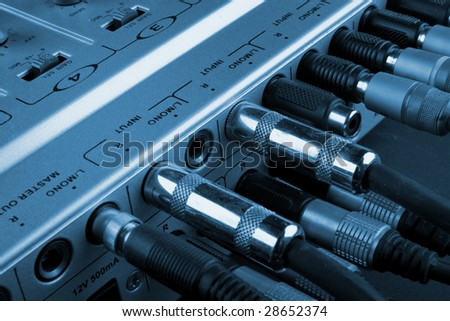 The panel of inputs of small studio mixer - stock photo