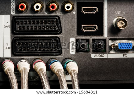 The panel with contacts of the modern TV - stock photo