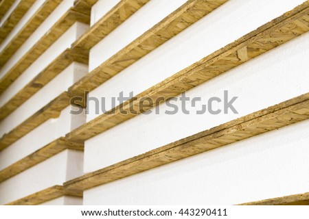 The panels for the construction of houses stacked close-up - stock photo