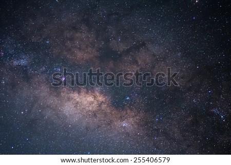 The Panorama Milky Way ,Long exposure photograph. - stock photo