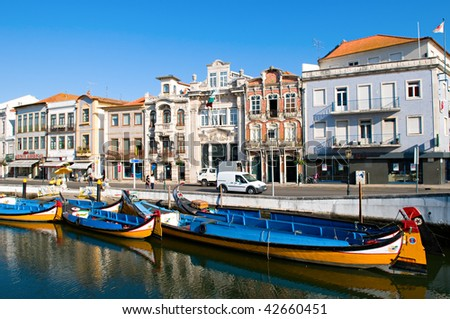 The panorama of Aveiro city and canal with boats - stock photo