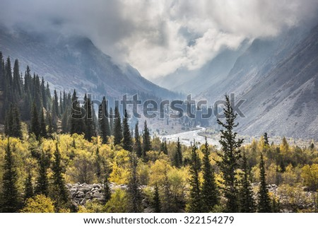 The panorama of mountain landscape of Ala-Archa gorge in the summer's day, Kyrgyzstan. - stock photo