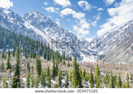 The panorama of mountain landscape of Ala-Archa national park in the summer's day, Kyrgyzstan. - stock photo