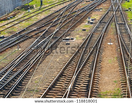 The panorama of railroad tracks. Top view. - stock photo