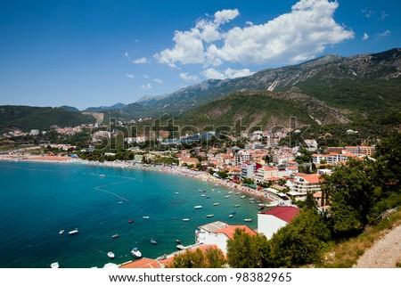 The panorama view of city beach in Montenegro - stock photo