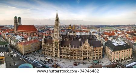 The panorama view of Munchen city centre with Marienplatz. - stock photo