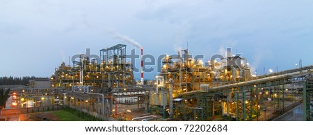 The panorama view of petrochemical plant - stock photo