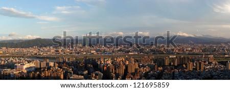 The panorama view of Taipei City - stock photo