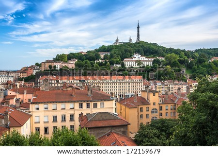 The panoramic aerial view at Lyon on Basilique de Fourviere hill. Lyon. France