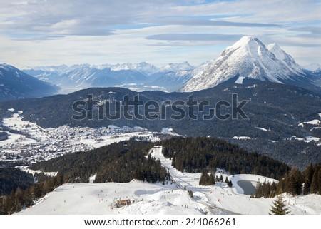 The panoramic top view of ski Olympia Region Seefeld, Austria - stock photo