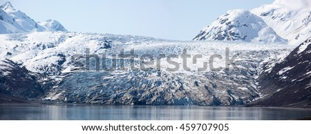 The panoramic view of a glacier in Glacier Bay national park (Alaska).